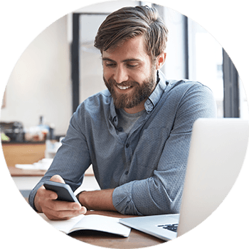 happy client on cell phone looking at web design